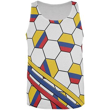 World Cup Colombia Soccer Ball All Over Mens Tank Top