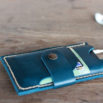 Leather iPhone Case - Aqua Smartphone Leather Wallet -- JooJoobs Wallets for Women