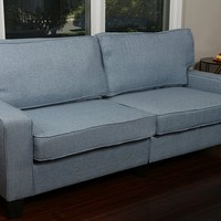 New Century® Linen Contemporary Love Seat Sofa, Blue