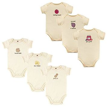 Touched by Nature Baby Organic Cotton Bodysuits, 6 Pack, Peanut Jam, 3-6 Months