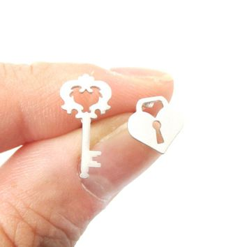 Key To My Heart Skeleton Key and Heart Shaped Lock Stud Earrings in Silver | DOTOLY