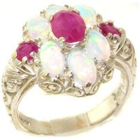 Spectacular Solid Sterling Silver Natural Ruby and Very Fiery Opal Art Nouveau Style Ring - Finger Sizes 4 to 12 Available