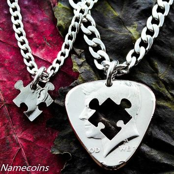 Guitar Pick Necklace, with a puzzle piece, hand cut coin by Namecoins