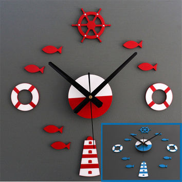 2016 Mediterranean DIY 3D Wall Clock Home Wall Stickers Decoration Art Clock Red Blue For Living Room Bedroom Ceiling Decoration