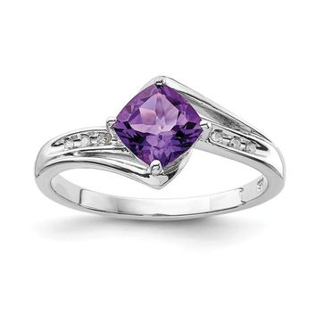 Sterling Silver Cushion Cut Amethyst and Diamond Ring