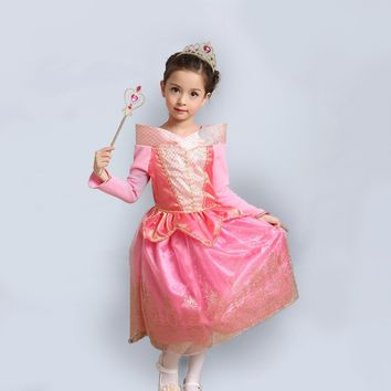 Princess Costume - Coral Pink Bubble Gown Skirt Aurora Dress - 👗💘👑🎃👠