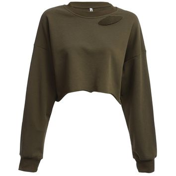 Trendy Round Neck Long Sleeve Pure Color Loose Women Crop Top