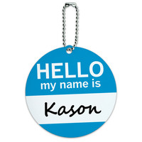 Kason Hello My Name Is Round ID Card Luggage Tag