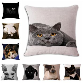 Show MOE cute angry cat Cushion printed  linen Family affection Sofa Car Seat family Home Decorative Throw Pillow