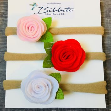 Felt Rose Baby Headband - Light Pink, Red, & White- 3 Pack