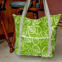 Very large tote bag, diaper bag, carry on  bag - green and white leaf print with yellow floral lining, with zipper and many pockets