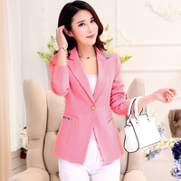 Women Blazers and jackets 2016 Spring/Autumn women Slim Long sleeve Turn-down collar Single Button women casual coat  Plus size