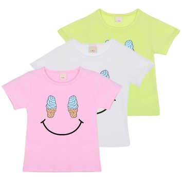 Summer 2017 Cute Ice Cream Smile Face Children Baby Boys Girls Kids Short Sleeve T-shirt Cozy