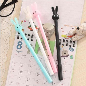 DCCKL72 0.5mm Cute Kawaii Plastic Gel Pens Lovely Cartoon Rabbit Pen For Kids Writing Gift School Supplies Free Shipping 3135