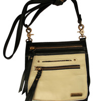 Tasca Leather Purse - Black & Bone with Nickel