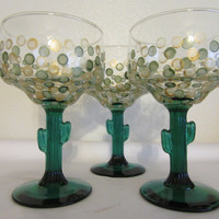 Unique One of a Kind Vintage Hand Painted Special Margarita Glasses - Green Saguaro Cactus Stemware  - Green Gold HAPPY DOTS - Set of TWO