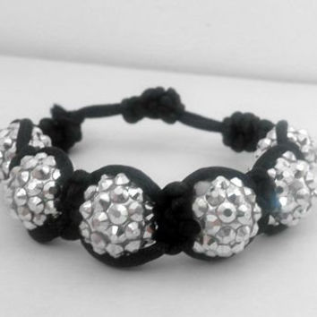 Hand-Woven Adjustable Beaded Shamballa Bracelet with Silver Beads