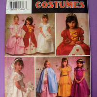 Child's Halloween Costume Princess Dress, Bride Veil and Cape Toddler Size 2, 3, 4, 5, 6 Simplicity 9089 Sewing Pattern Uncut