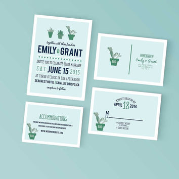 Printable Wedding Invitation Set - Garden Succulentt Invite, RSVP Post Card, Details - DIY Digital Ready to Print