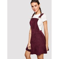 Pocket Patched Flare Overall Dress