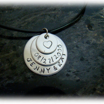 Mother's Necklace - 3 Disk Stainless Steel with Children's Names