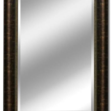 Distressed Embossed Bronze Wall Mirror (2079) - Illuminada