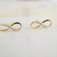 Tiny gold infinity earrings