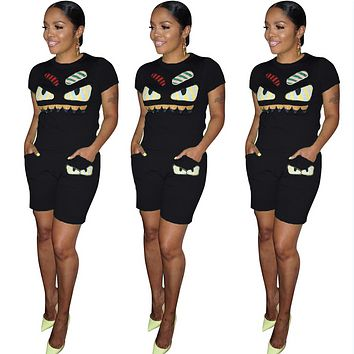 Fendi Fashion Summer New Eye Print Two Piece Suit Sports Leisure Top And Shorts Women