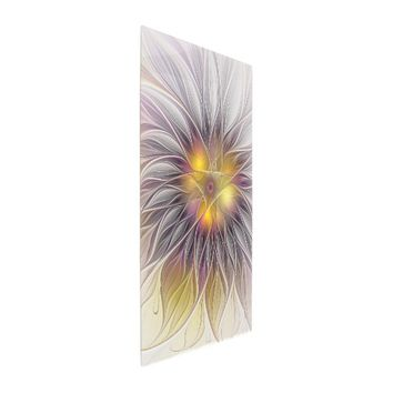 Luminous Colorful Flower, Abstract Modern Fractal Metal Photo Print