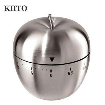 KHTO Stainless Steel 60-Minute Countdown Kitchen Cooking Mechanical Alarm Timer Clock Apple Shape