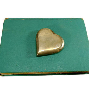 Vintage Brass Heart Paperweight Office Desk Accessory Home Decor Aged Gold Patina Gifts For Her