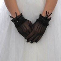 Topwedding Short Lace Gloves with Bow and Rhinestone, Black