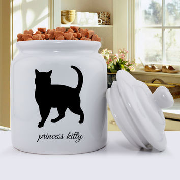 Personalized Classic Silhouette Cat Treat Jar