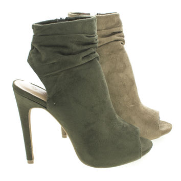 Evelyn60 Taupe By Wild Diva, Peep Toe Mule Ankle Slouchy Stiletto Heel Booties