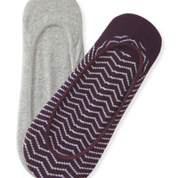 2-Pack Chevron & Solid No-Show Socks - Aeropostale