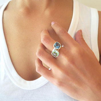 Green Quartz Square Sterling Silver Ring