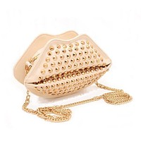 Studded Lips Clutch Bag