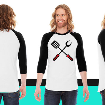 Barbecue grill fork spatula cooking American Apparel Unisex 3/4 Sleeve T-Shirt