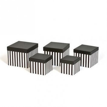 Black and White Stripe Boxes with Lids Set of 15 DIY Gift Packaging
