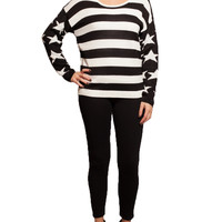 Tops / Sweaters / Black & White American Flag Sweater - Ocd Clothes Co.