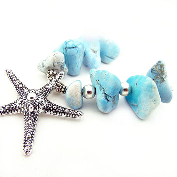 Turquoise Nugget and Starfish Necklace, Silver Starfish Necklace, Beach Inspired Necklace