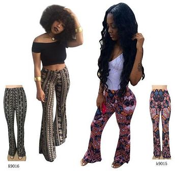 2017 Hot Stylish Women Boho Printed High Waist Stretch Slim Flare Bell Bottom Pants Long Flare Trousers Clubwear Beach Style