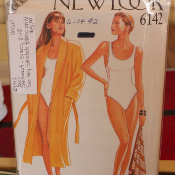 New Look women's swimsuit pattern, vintage swimsuits, size 8-18, #6142, copyright 1992, item #136