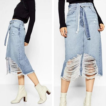 """Zara"" Fashion Casual Worn Ripped Knotted High Waist Denim Skirt"