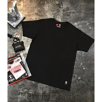 AAPE & HANES Joint Series 2018 Summer New Men's Casual Fashion Short Sleeve (A set of three pieces) F-CY-MN balck