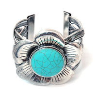 Sophisticated Metal Braided Cuff Bracelet w/ Large Turquoise Floral Accent Color: Turquoise