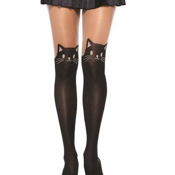 Leg Avenue Female Black Cat Spandex Opaque Pantyhose With Sheer Thigh Accent 7908