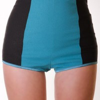 TEAL COLORBLOCK HOT SHORTS @ KiwiLook fashion
