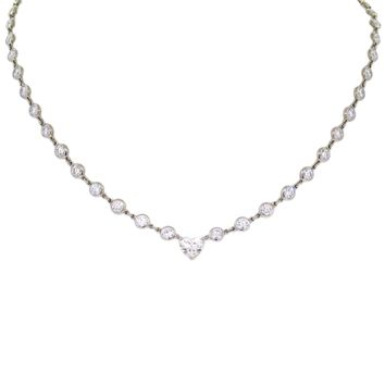 Tiffany & Co Peretti Platinum 7.15 Carats Heart Diamond by the Yard Necklace