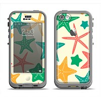 The Tan And Colorful Vector StarFish Apple iPhone 5c LifeProof Nuud Case Skin Set